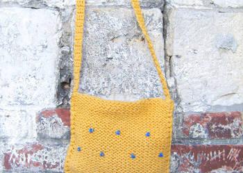Torba boho, musztardowa torba, torba z włóczki, ochra torba