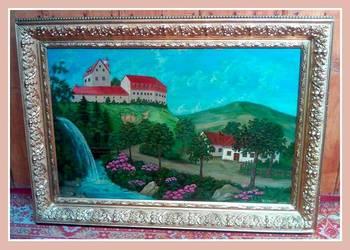 Antyki stary olejny 120 X 90 Duzy obraz recznie malowany
