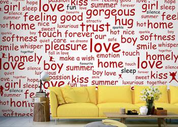 Fototapeta z czerwonymi napisami do pokoju nastolatki