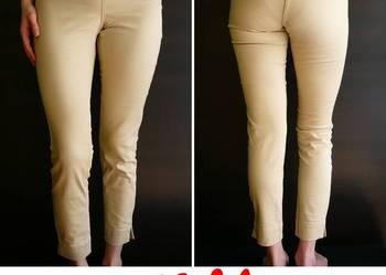 spodnie xs 34 rurki h&m beżowe zamek zip suwak