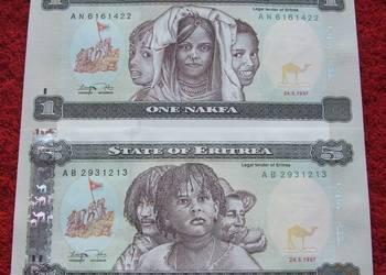 ERYTREA Kolekcjonerskie Banknoty Zestaw - 2 sztuki UNC