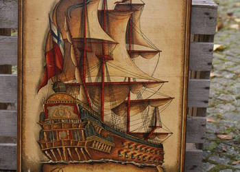 Drewniany obraz statek żaglowiec H.M.S Prince 1670