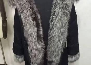 Piękna kurtka  ze srebrnym lisem naturalnym S-XL