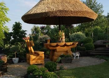 Parasol z trzciny ogrodowy strzecha meble ogrodowe z bali