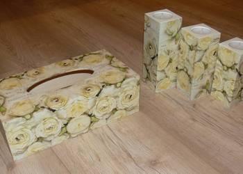 Komplet 3 świeczników + chustecznik kwiaty róże prezent