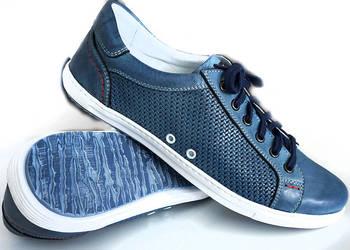 Nowe męskie buty skóra naturalna skórzane półbuty granat 42