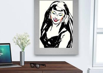 czarno biały plakat w stylu pop art,fajna grafika do pokoju,