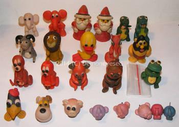 Figurki z modeliny lata 80-te zwierzątka komplet x24