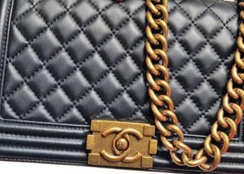 Torebka styl Chanel Boy Medium czarna skóra naturalna
