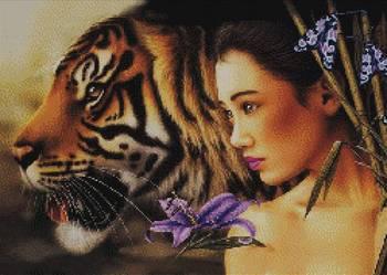 Kobieta i tygrys wzór do wyszycia haftem krzyżykowym