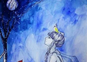 Praca akwarelą i piórkiem ''Z papugą na głowie'' A. Laube