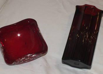 Miseczka i wazon z grubego czerwonego szkła- Art Deco