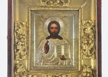 Ikona - Chrystus Pantokrator, w okładzie srebrnym i kiocie w