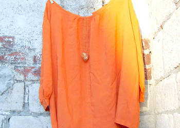 Elegancka nowa, bluzka z wiskozy oranż - rozmiar XL