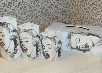 Chustecznik + świeczniki Marilyn Monroe prezent decoupage