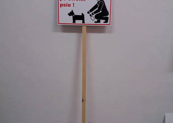 Tabliczka Posprzątaj po swoim psie 30x20 cm PCV 5mm + STELAŻ