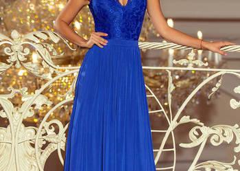 jokastyl LEA długa suknia koronkowym dekolt chaber S M L XL
