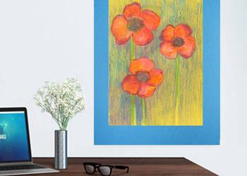 rysunek do pokoju,obrazek maki,kwiaty szkic do domu,maki rys