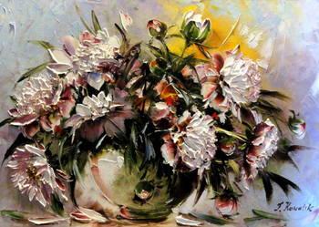 Obraz olejny - 40x60cm kwiaty piwonie