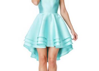 f664a9de6f Asymetryczna miętowa sukienka na wesele rozkloszowana mini Czeladź -  Sprzedajemy.pl