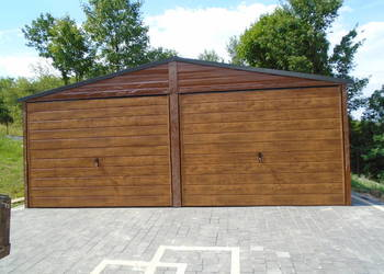 Garaż blaszany 6x6 blacha orzech,złoty dąb WZMOCNIONY
