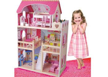 Duży drewniany domek dla lalek 90 cm + Mebelki
