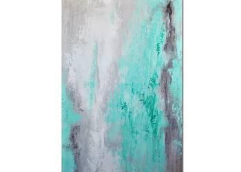 Spilled mint, abstrakcja, nowoczesny obraz ręcznie malowany