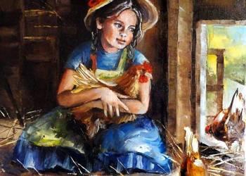 Kurka - Obraz olejny 30x30cm dziewczynka