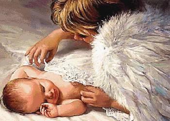 Anioł stróż 7 wzór do wyszycia haftem krzyżykowym