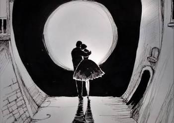 Rysunek piórkiem ''Zakochani'' artystki Adriany Laube