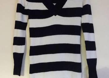 dłuższy sweter biały czarny paski s 36 Miss Fiori
