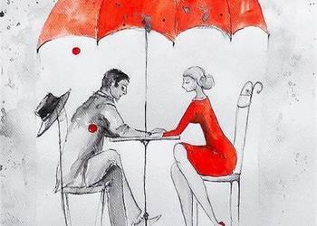 Praca akwarelą i piórkiem ''W deszczu'' artystki A. Laube