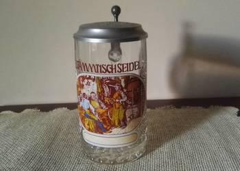 """Kolekcjonerski, szklany, kufel z klapką """"Stammtischseidel"""""""