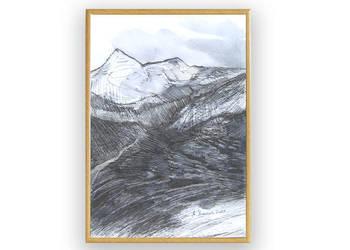 Biało czarny obrazek widok górski,góry rysunek czarno-biały