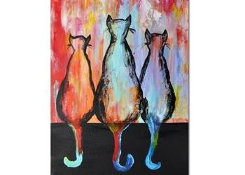 Koty ML /3/, obraz ręcznie malowany