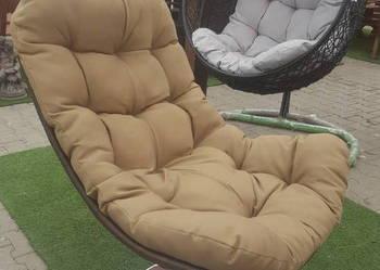 Leżak fotel obrotowy na nóżce wygodny ergonomiczny BRĄZOWY
