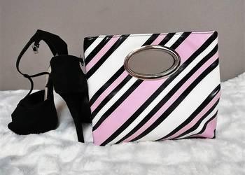 9c6951e8104c8 torebka do ręki czarna różowa biała