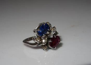 Złoty pierścionek szafir rubin diamenty STARY