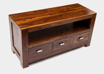Indyjska kolonialna szafka pod telewizor stolik RTV 120x60 2 półki i 3 szuflady palisander rosewood shesham
