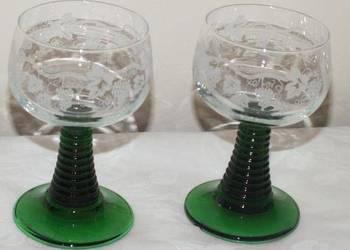 Dwa kieliszki do brandy,koniaku z zielonymi nóżkami