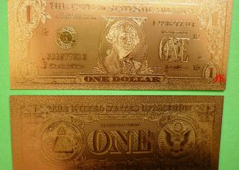 ZŁOTY BANKNOT DOLLAR 1$ 2$ 5$ 10$ 20$ 50$ 100$ 24 Karat GOLD