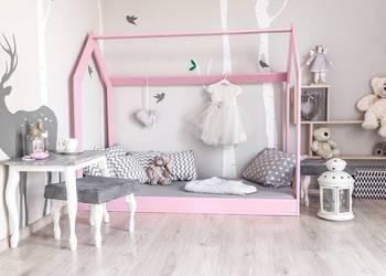 Drewniane Łóżko Dziecięce Domek Skandynawski Różowe