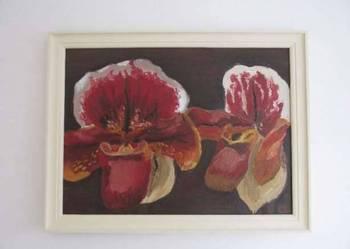obraz olejny kwiaty storczyki diy