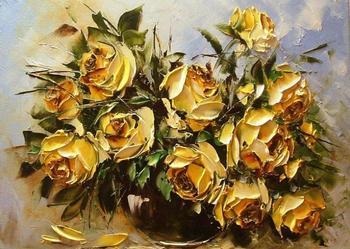 Kowalik  - Żółte róże - 40x30 Obraz olejny , szpachel