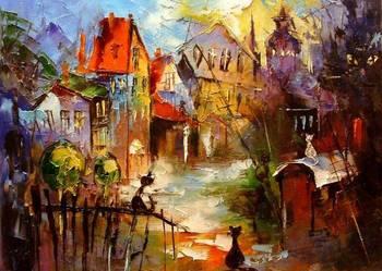 Koty - 50x40 Obraz olejny namalowany szpachelką