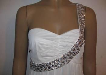 śliczna kremowa sukienka z cekinami BODY FLIRT r. 38