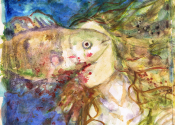 Syrena z rybą Obraz akwarela
