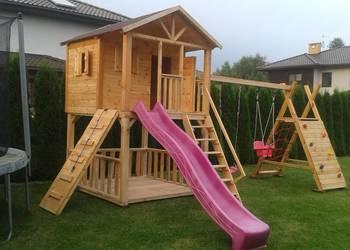 Domek ogrodowy dla dzieci plac zabaw zjeżdżalnia