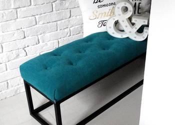 Loft ławka przedpokój metalowa konstrukcja pikowana pufa