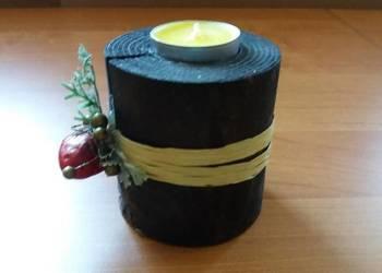 ŚWIECZNIK drewniany na podgrzewacz, tealight